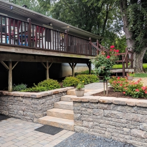 A stone-texture precast concrete Belgard Brookshire retaining wall, Belgard steps, walkway, and paver driveway with native plantings in New Paltz, NY, installed by Masseo Landscape, Inc.