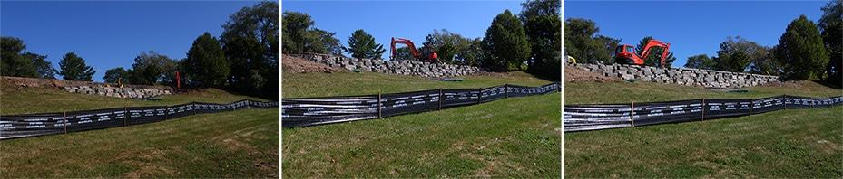 Faraway Progress of retaining wall with drainage.