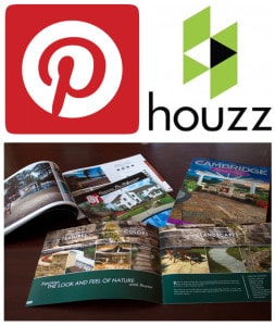 Images of Pinterest and Houzz logos.