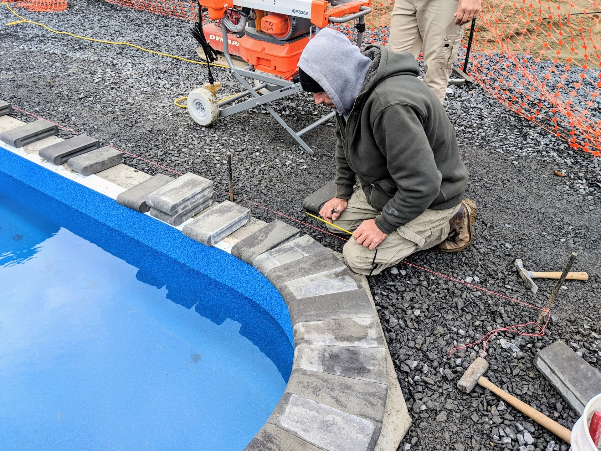 Stone Pool Coping installed by Masseo Landscape, Inc. - Ulster County Landscaper