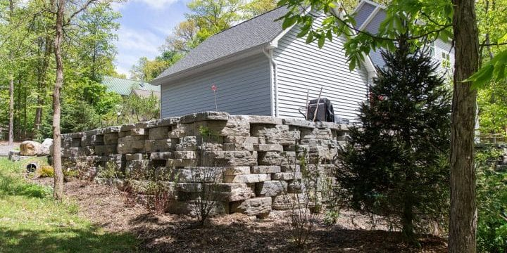 Precast concrete retaining wall in New Paltz, NY installed by Masseo Landscape