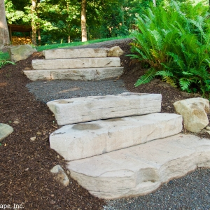 Stone steps set into a hillside garden path in Port Ewen, NY.