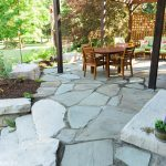 A natural bluestone patio with Rosetta Hardscape steps and built in seating, installed by Masseo Landscape in High Falls, NY.