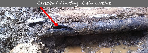 Cracked footing drain outlet