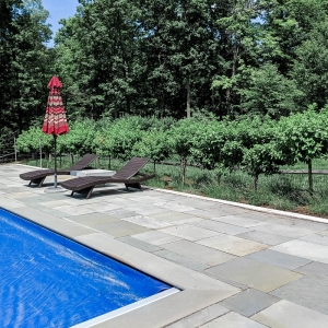 A geometric natural stone patio with a line of lavender plants and hydrangea trees along a pool in New Paltz, NY