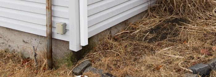 Standard gutter drain not tied into drainage system