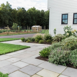 A rectilinear bluestone walkway with native landscape plantings designed by Masseo Landscape, Inc. in Gardiner, NY