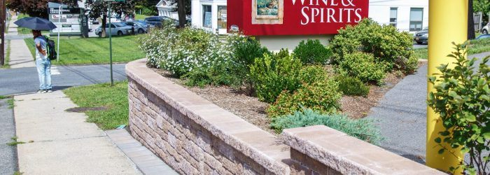 After shot of newly designed and installed retaining wall.