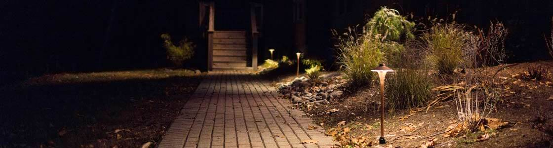 Image of low voltage landscape lighting on dark path installed by Masseo Landscape - Landscape Lighting Contractor in New Paltz, NY.