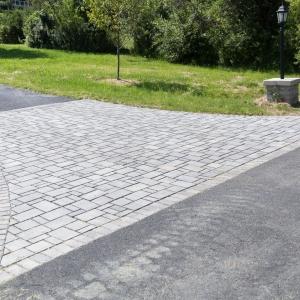 A geometric precast concrete Belgard driveway in New Paltz