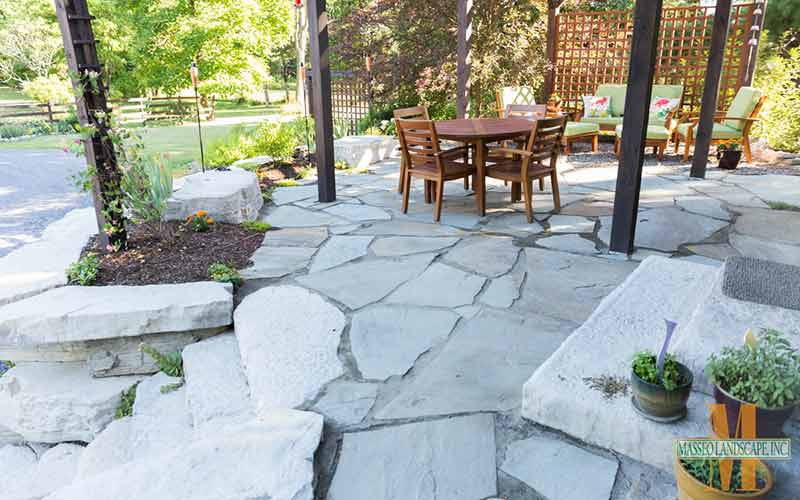 Project Scope: A Natural Bluestone Patio With A Pre Cast Concrete Retaining  Wall, With Room For Planting.
