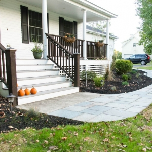 A curvilinear walkway and front entry in New Paltz, NY.