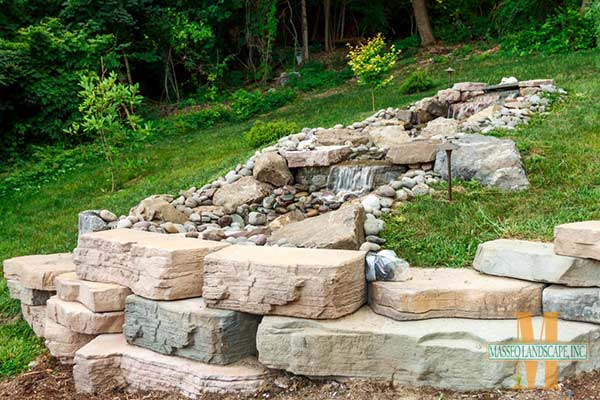 A custom built tiered recycling waterfall with Rosetta Outcropping and natural river rock.