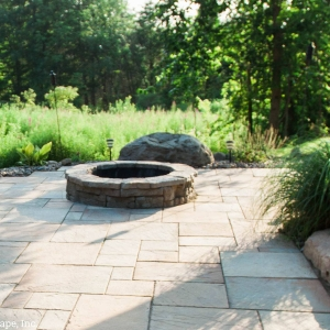 Rosetta round fire pit and patio designed and installed by Masseo Landscape, Inc, best New Paltz Landscaping Company