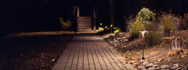 Low voltage LED bronze landscape path lights.