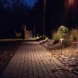 Path lighting along paver walkway in Cottekill, NY.