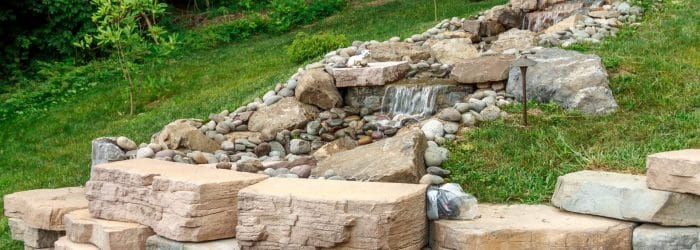 Water feature landscaping by Masseo Landscape, New Paltz, NY.