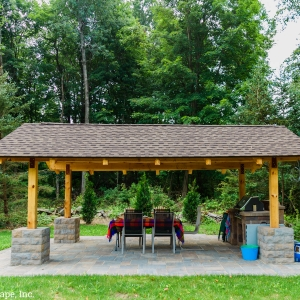 Belgard patio and custom built wooden pavilion built by Masseo Landscape, Inc., landscape contractors in Highland, NY.