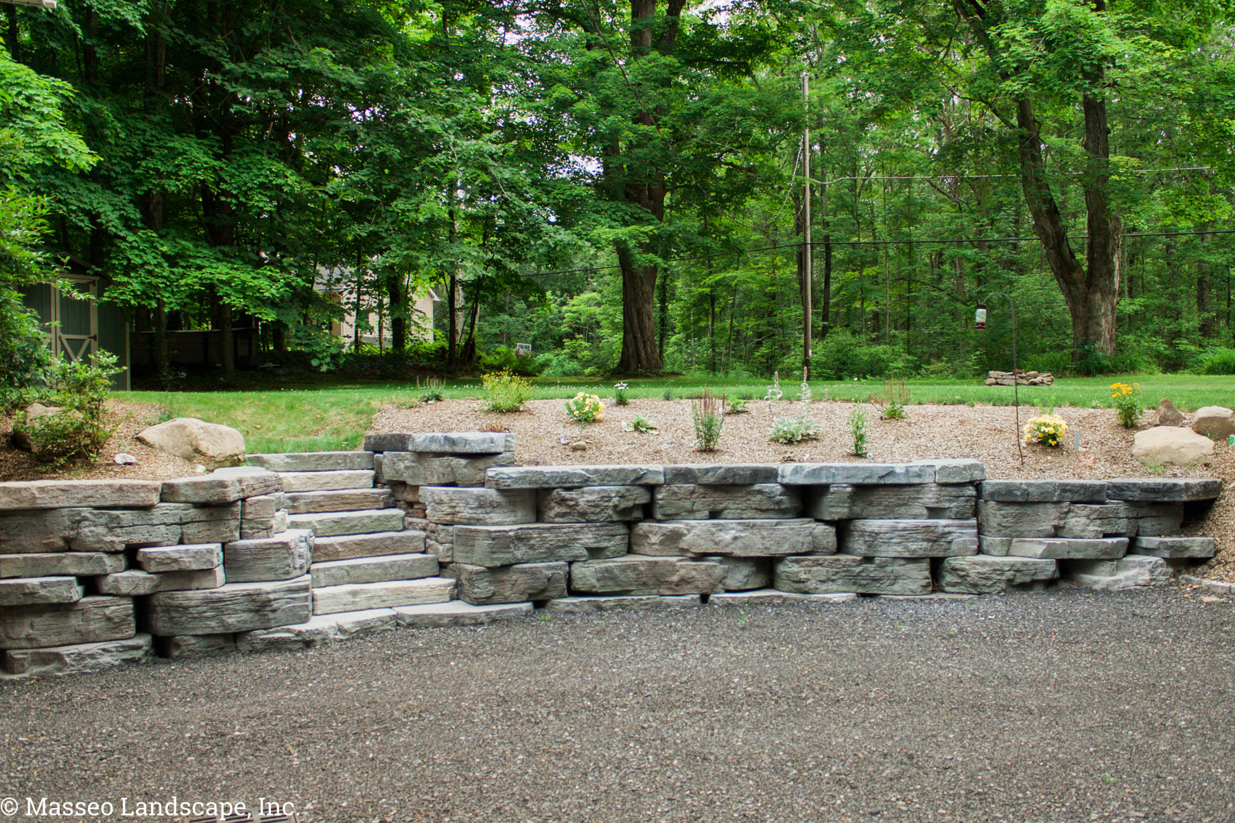 Rosetta Outcropping Retaining Wall designed by Masseo Landscape, Inc. New Paltz Landscape Contractors