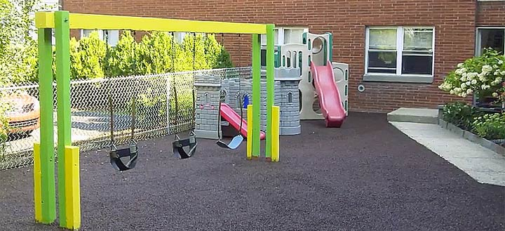 Playground with recycled tire mulch.