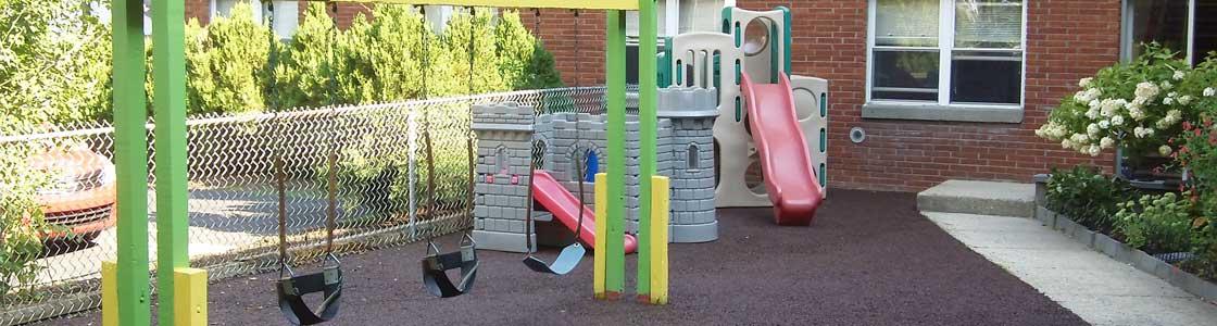 Rubber Playground Mulch installed at this New Paltz playground.