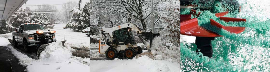 3 images showing snow plowing, snow removal services and salting.