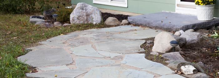 Image of natural cut bluestone walkway.