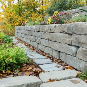 Tiered garden space with Rosetta Kodah retaining walls, installed by Masseo Lanscape, Inc. Ulster County Landscaper